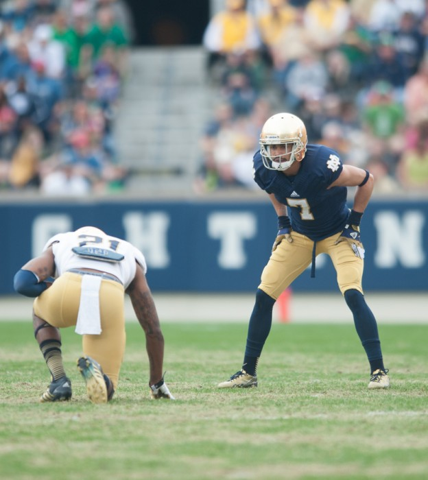 Sophomore receiver Will Fuller lines up opposite senior cornerback Jalen Brown during the Blue-Gold Game on Saturday. Fuller is part of a young receiving corps set to have a breakout 2014 season for the Irish.