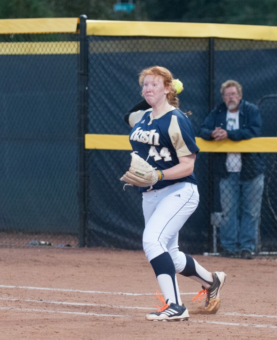 Irish senior pitcher laura Winter throws during a game on Oct. 10, 2013 at Melissa Cook Stadium. Winter threw a complete game in Notre Dame's 8-5 win over Florida State on Sunday.