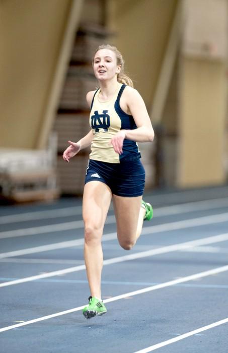 Freshman Madlen Karnatz runs in the 200 meter dash at the Notre Dame Invitational on Jan. 25.