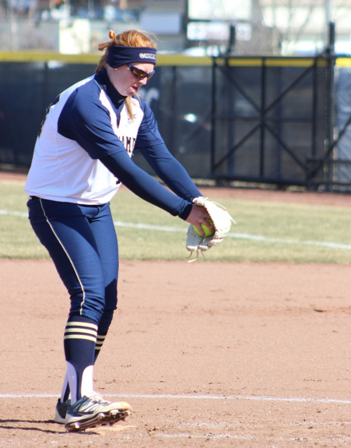 Irish senior pitcher Laura Winter winds up in Notre Dame's 11-4 win over Ball State on April 1 at Melissa Cook Stadium.