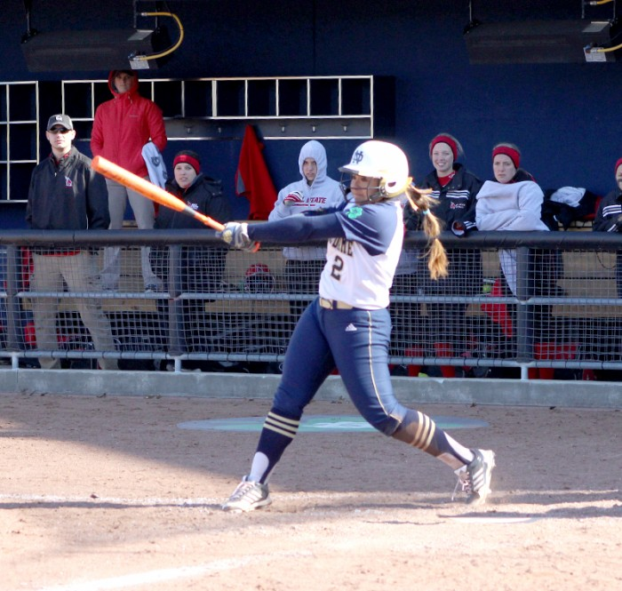 Irish sophomore Michaela Arezmendi takes a swing during a game against Ball State on April 2.