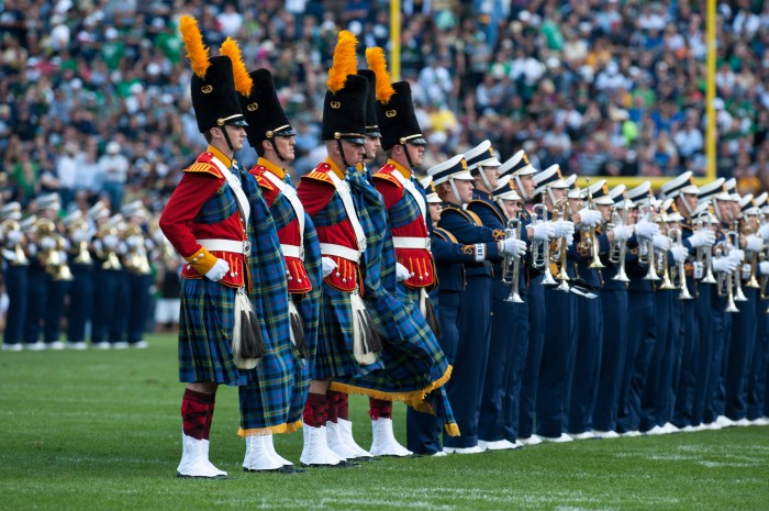 The Irish Guard performs alongside the Band of the Fighting Irish in the Sept. 8, 2012, game against Purdue. The Guard has been restructured to include band members only, eliminating the height requirement of 6'2''.