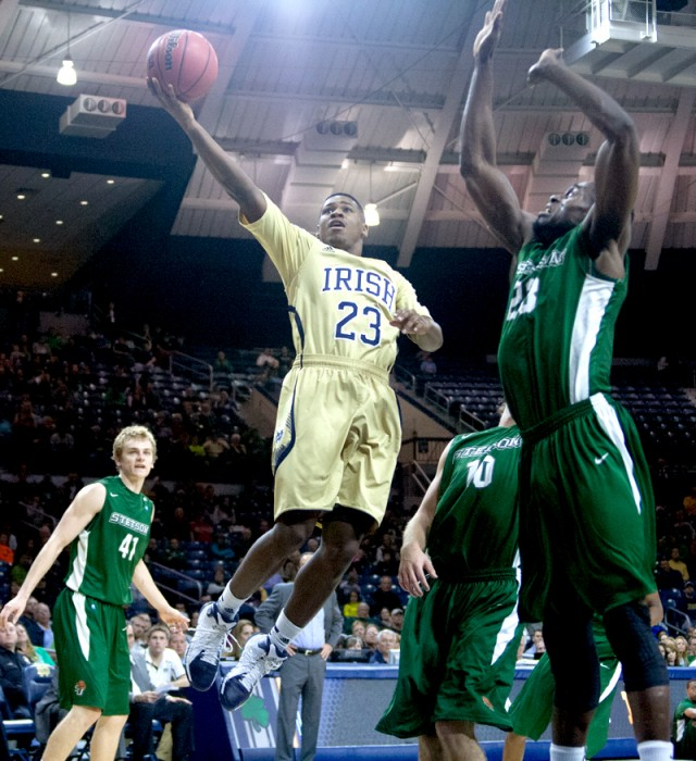 Freshman guard Demetrius Jackson stretches for a layup in Notre Dame's 80-49 victory against Stetson on Nov. 10 at Purcell Pavilion.