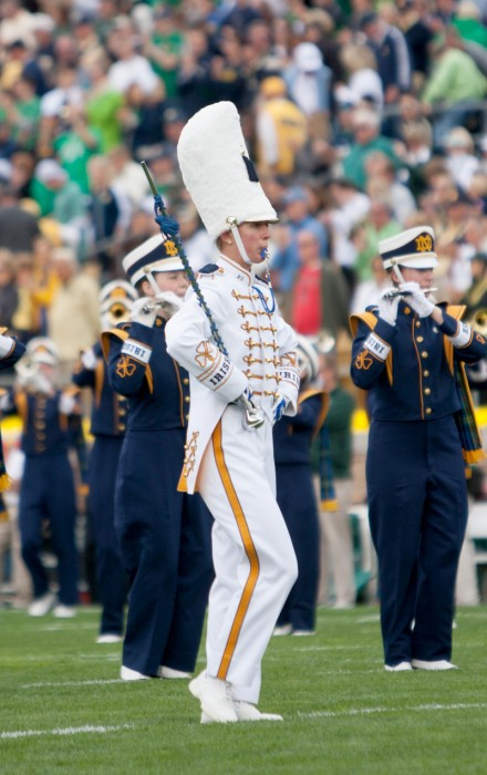 20130921 Football vs MSU, Drum Major, Observer File Photo