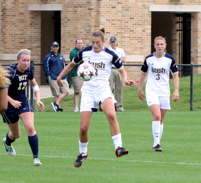 Senior midfielder Mandy Laddish traps the ball in Notre Dame's 3-0 win against Pittsburgh on Sept. 29 at Alumni Stadium. Laddish  scored a goal and tallied five shots in the match, which brought Notre Dame's record to 9-1.