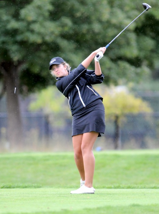 Saint Mary's senior Paige Pollak tees off during the O'Brien National Invitational at Warren Golf Course on Sept. 15.