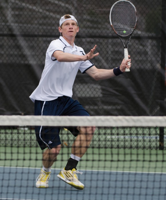 Irish junior Alex Lawson prepares to return a shot in Notre Dame's 6-1 victory over Florida State on April 13. Lawson paired with senior Billy Pecor to earn an 8-5 doubles win in the match.