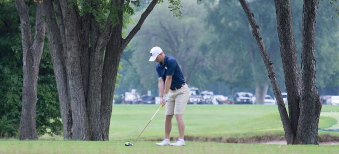 Irish senior Patrick Grahek readies his shot during the Notre Dame Kickoff Challenge on Aug. 31 at Warren Golf Course.