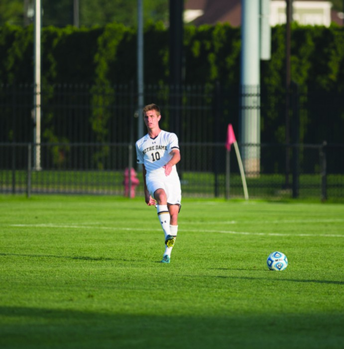 Irish sophomore defender Brandon Aubrey sends a pass in a 1-0 loss to Kentucky on Sept. 8. Aubrey has started all five matches for Notre Dame this season and has tallied one goal and three shots.