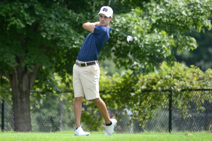 Junior Zach Toste tees off during the Notre Dame Kickoff Challenge on Aug. 31 at Warren Golf Course.