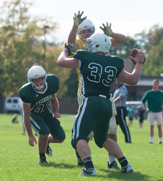 Junior Patrick Mazza of Sorin, defensive lineman, rushes the passer in a game last year. Mazza is now a varsity football walk-on.