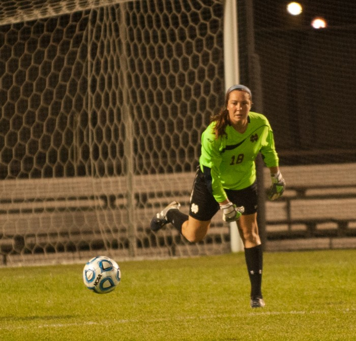 Irish sophomore goalkeeper Kaela Little throws the ball out of the box during Notre Dame's 2-1 loss to Texas Tech on Aug. 29.