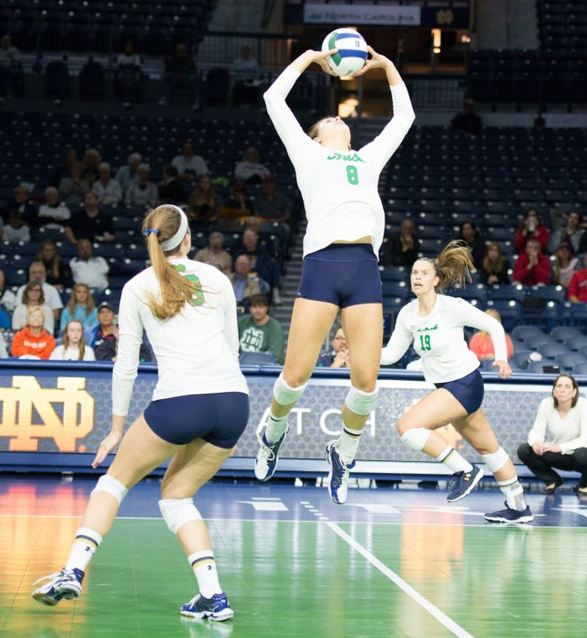 Irish freshman Maddie Dilfer goes up for the set during Notre Dame's 3-1 win over Northeastern on Sept. 13.