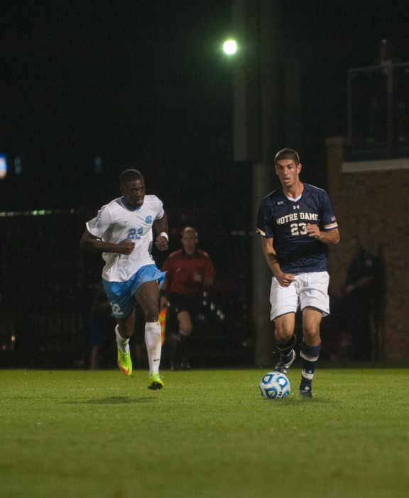 Irish freshman forward Jeffrey Farina moves upfield against North Carolina. ND won the match 2-0 on Sept. 26 at Alumni Stadium.