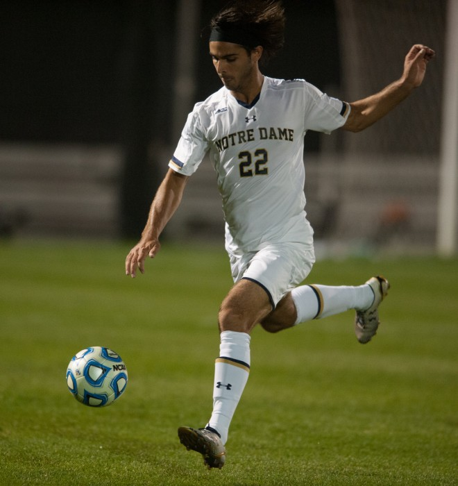 Irish graduate student Vince Cicciarelli prepares to unleash a shot during Notre Dame's 1-0 double- overtime win over VCU on Tuesday. Cicciarelli had two shots on the night.