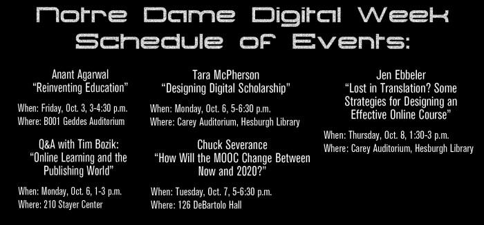 Digital Week Schedule of Events Graphics