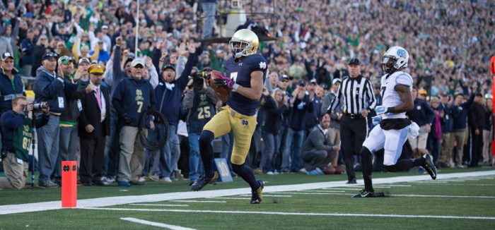 Irish sophomore receiver Will Fuller hauled in seven receptions for 133 yards and two touchdowns during Notre Dame's 50-43 win over North Carolina on Saturday at Notre Dame Stadium.