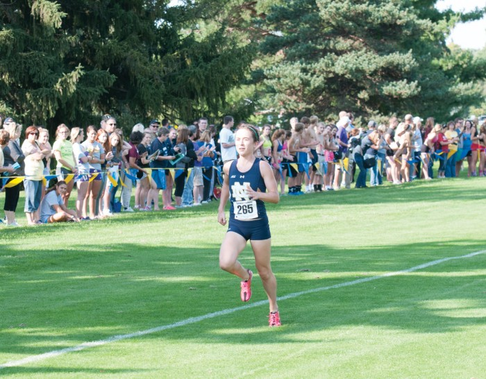 Irish junior Molly Seidel sprints to the finish line during the National Catholic Championships on Sept. 19 at Notre Dame Golf Course. Seidel won the race and led the women's squad to the team title.