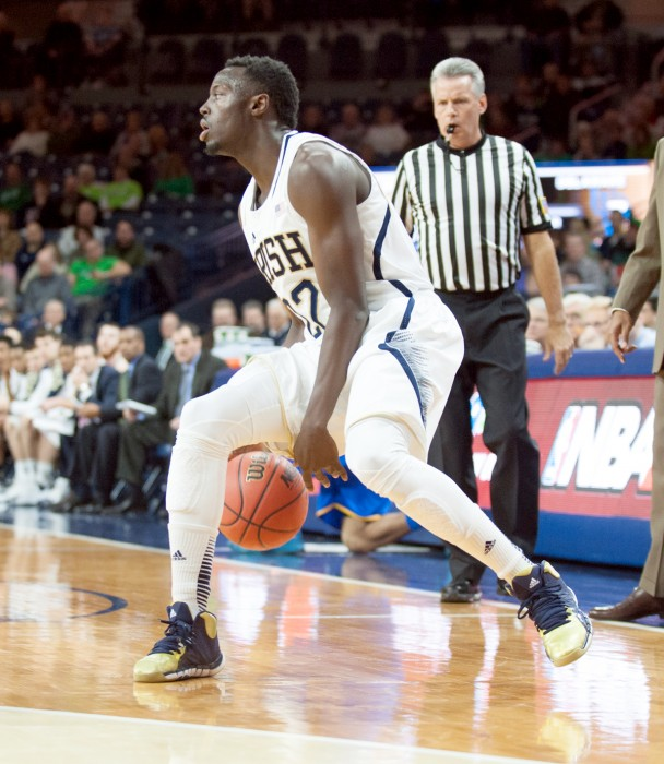 Irish senior guard Jerian Grant dribbles down the sideline during Notre Dame's 80-75 victory over Delaware on Dec. 7.
