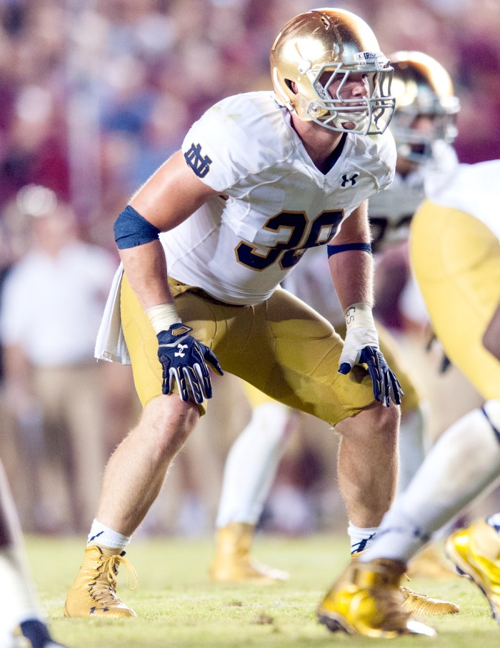 Irish senior linebacker Joe Schmidt is out for the season with a fractured and dislocated left ankle suffered during Notre Dame's 49-39 win over Navy on Saturday. Schmidt leads the Irish with 65 tackles.
