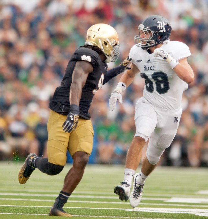 "Irish sophomore linebacker Jaylon Smith, pictured here against Rice, said Notre Dame will rely on its ""next-man-in"" philosophy after senior linebacker Joe Schmidt suffered a season-ending ankle injury."