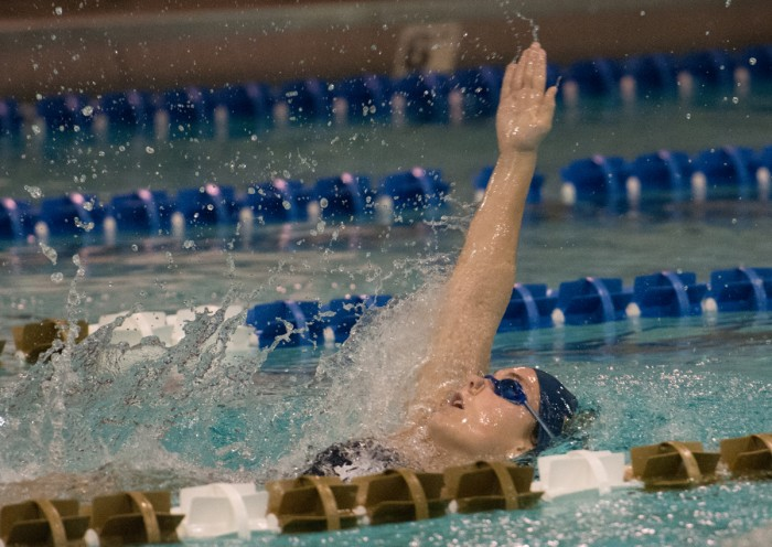 Irish senior Courtney Whyte competes in the backstroke during Notre Dame's 170-128 loss to Purdue on Nov. 1at Rolfs Aquatic Center.