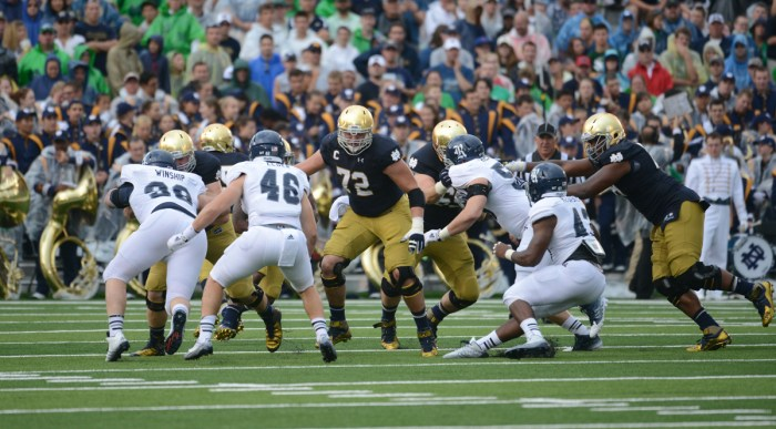Irish senior guard Nick Martin blocks during Notre Dame's season-opening 48-17 win over Rice on Aug. 30.