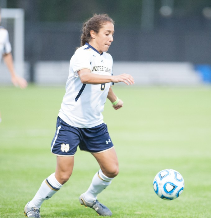 Irish freshman defender Sabrina Flores corrals the ball during Notre Dame's 1-0 victory over Baylor on Sept. 12.