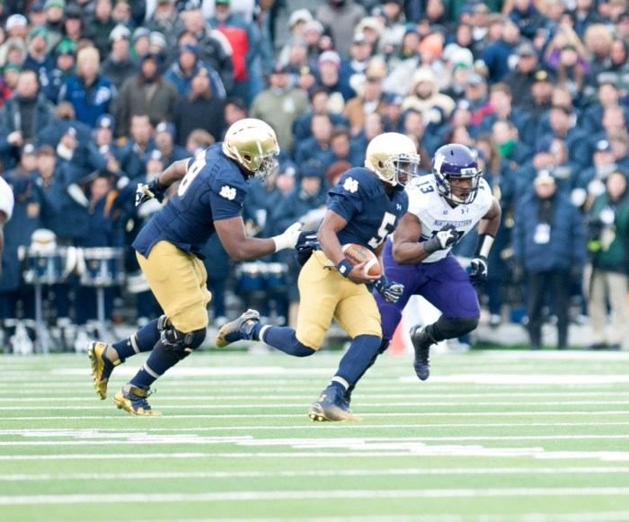 20141115, 2014 Football, 2104-2015, 20141115, Emmet Farnan, Football, Home, Northwestern, The Observer, Touchdown, vs Northwestern