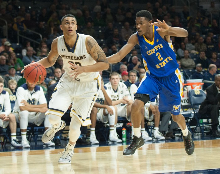 Irish junior forward Zach Auguste prepares to drive into the lane during Notre Dame's 104-67 rout over Coppin State on Wednesday night at Purcell Pavilion. Auguste had 21 points in the game.