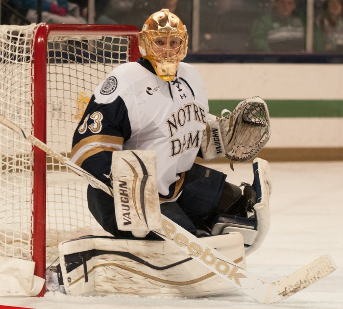Irish sophomore goaltender Chad Katunar stares down the ice  during Notre Dame's 3-1 loss to UMass-Lowell on Thursday night.
