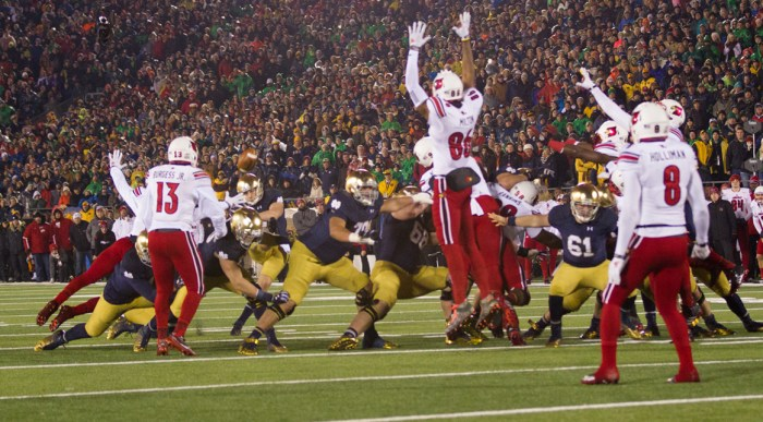 Irish senior kicker Kyle Brindza misses a 32-yard field goal in the final minute of regulation Saturday during Notre Dame's 31-28 loss to Louisville at Notre Dame Stadium.