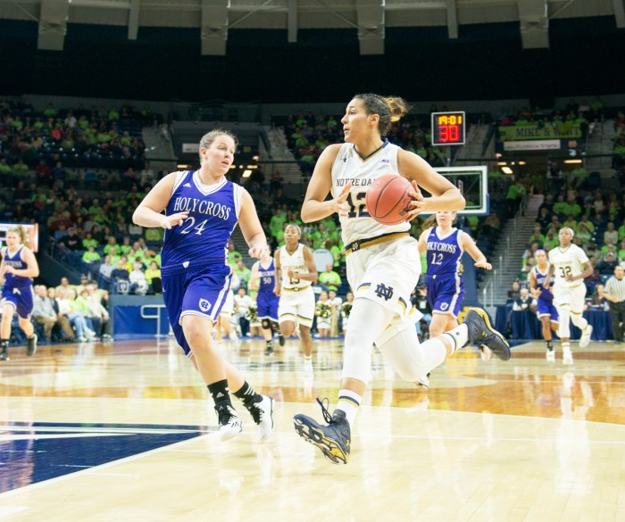Irish sophomore forward Taya Reimer drives during Notre Dame's 104-29 win over Holy Cross  on Nov. 23 at Purcell Pavilion.