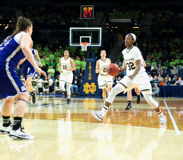 Irish junior guard Jewell Loyd dribbles during Notre Dame's win over Holy Cross on Nov 23. Loyd scored 27 points against Maryland.