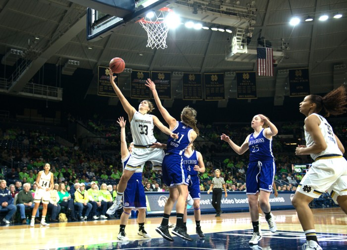 Notre Dame freshman forward Kathryn Westbeld drives inside for a shot against Holy Cross in a 104-29 defeat of Holy Cross on Nov. 23.