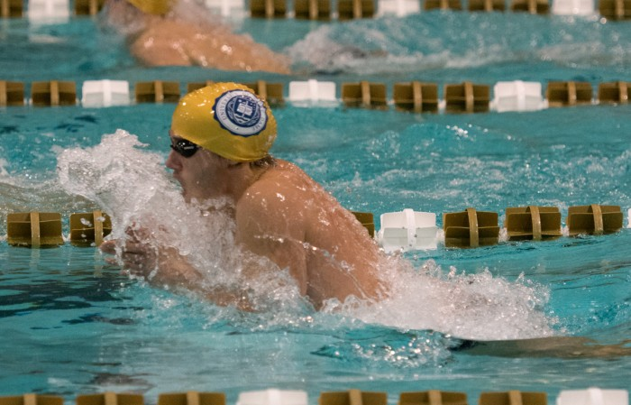 Irish senior Zach Stephens glides through the water in a breaststroke race against Purdue on Nov. 1. Notre Dame lost the meet , 161-139.