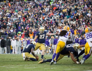 Irish senior kicker Kyle Brindza attempts an extra point in Notre Dame's 31-28 victory over LSU on Tuesday. Brindza made a 32-yard field goal as time expired to give the Irish the victory.