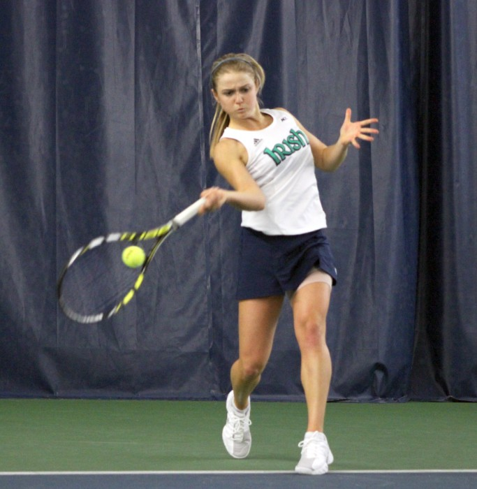 Irish sophomore Monica Robinson connects on a shot during Notre Dame's 4-3 win over Indiana on Feb. 2.