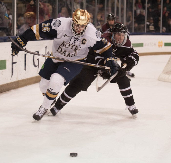 Irish junior center and captain Steven Fogarty jostles with a Union College defender during Notre Dame's 3-2 overtime loss Nov. 28.
