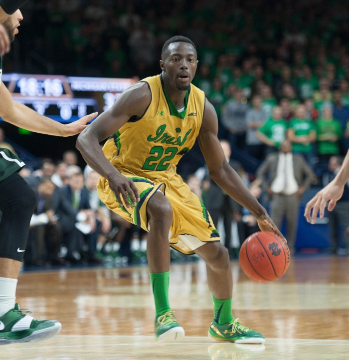 Irish senior guard Jerian Grant drives the lane during Notre Dame's 79-78 win over Michigan State on Dec. 3 at Purcell Pavilion.