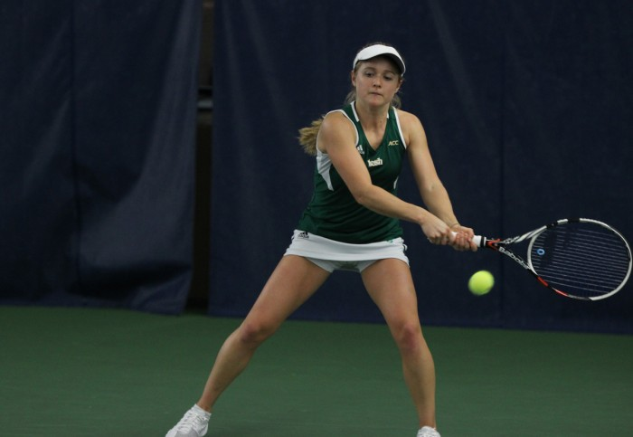 Irish sophomore Monica Robinson squares up to return a shot during Notre Dame's 4-3 loss to Georgia Tech on Feb. 21.
