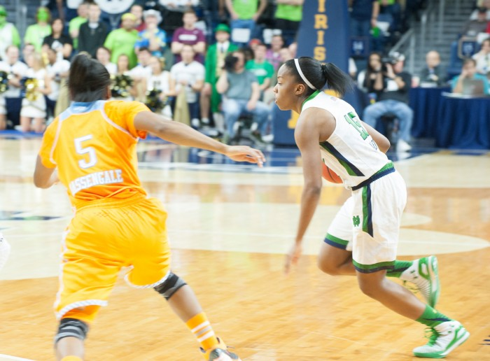 Irish sophomore guard Lindsay Allen works past a defender in Notre Dame's 88-77 win over Tennessee on Monday night at Purcell Pavilion.