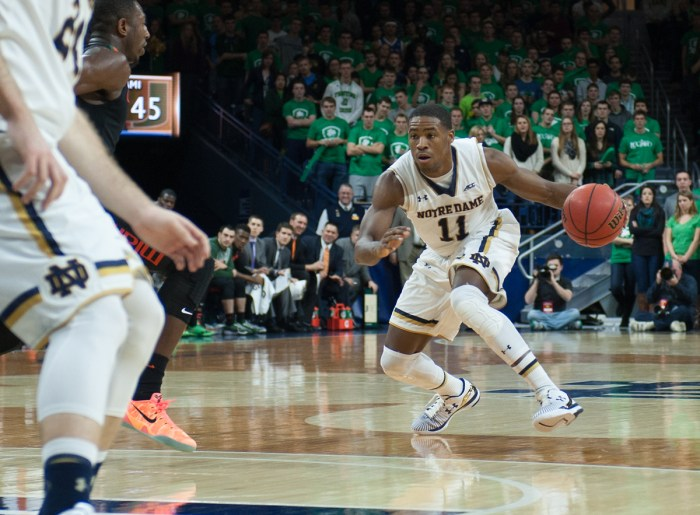Irish sophomore guard Demetrius Jackson dribbles during Notre Dame's 75-70 win against Miami on Saturday at Purcell Pavilion.