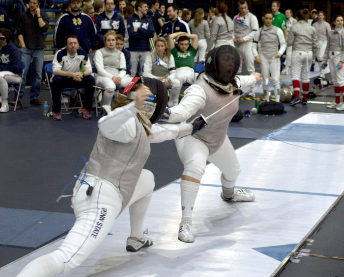 Junior foilist Nicole McKee  competes in the DeCicco Duals at the Castellen Fencing Family Center  on Feb. 8.