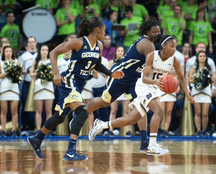 Irish sophomore guard Lindsay Allen pushes the ball up the court during Notre Dame's 89-76 win over Georgia Tech on Thursday at Purcell Pavilion.