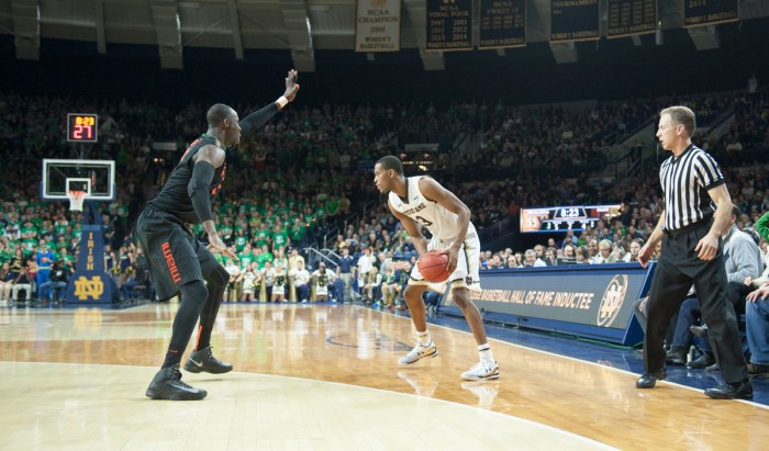 Irish sophomore guard V.J. Beachem looks for an opening during Notre Dame's 75-70 victory against Miami (Fla.) on Jan. 17 at Purcell Pavilion.