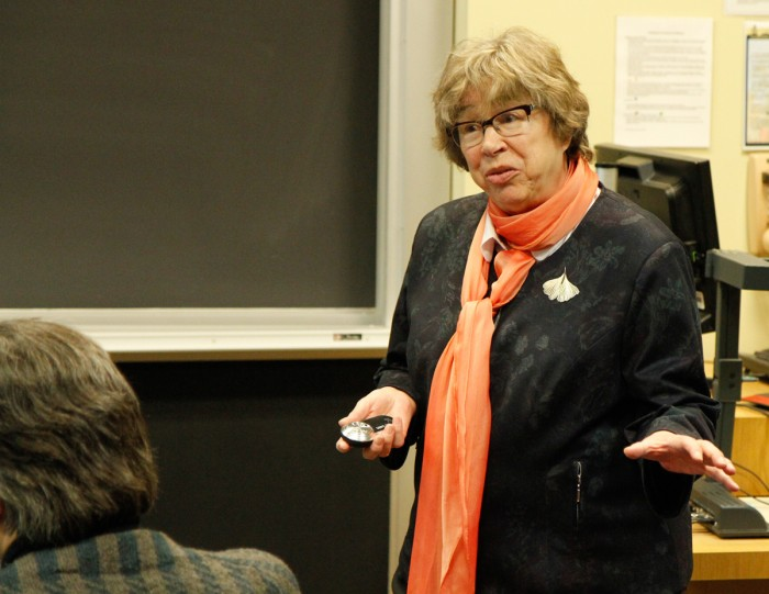 Zofia Golab-Meyer relates the Nazi persecution of academics in Poland during World War II in a lecture Monday night.