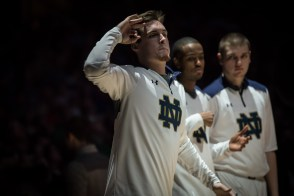 Irish senior captain Pat Connaughton greets his teammates during introductions before Wednesday's game. Michael Yu   The Observer