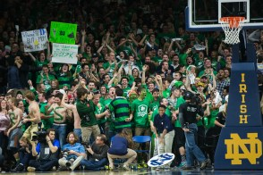 Students react after Notre Dame scores. Michael Yu   The Observer