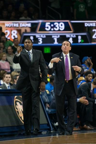 Duke coach Mike Krzyzewski (right) signals plays. Michael Yu   The Observer